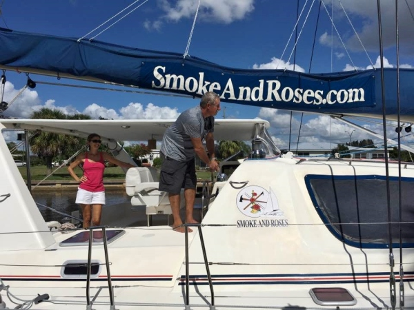 Dan and Agnes leaving the dock on Smoke and Roses