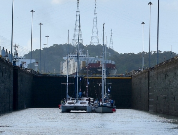 In the Panama Canal Rafted with Shepard Moon