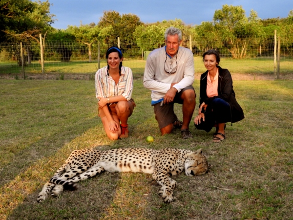 Alicia, Dan and Agnes with Cheetah at Emdoneni Lodge